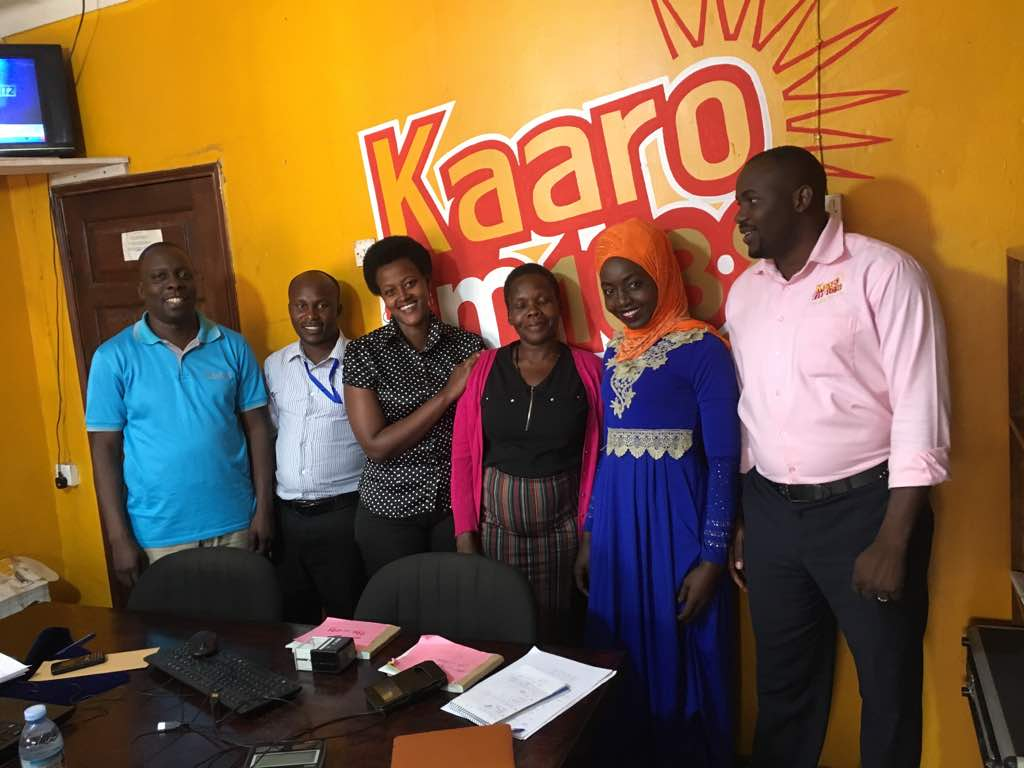 Tomosi Group's new Accounts Head, Miss Agnes Akech together with TFBL's General Manager, Mr. Daniel Kyobe pose for group photos with Kaaro FM staff in Lyantonde. Kaaro FM is the Group's broadcasting arm placed at the centre of ten districts of south western Uganda. The radio's sole purpose is to avail farmers with educational programmes to improve their farming methods and adopt better post-harvest practices.