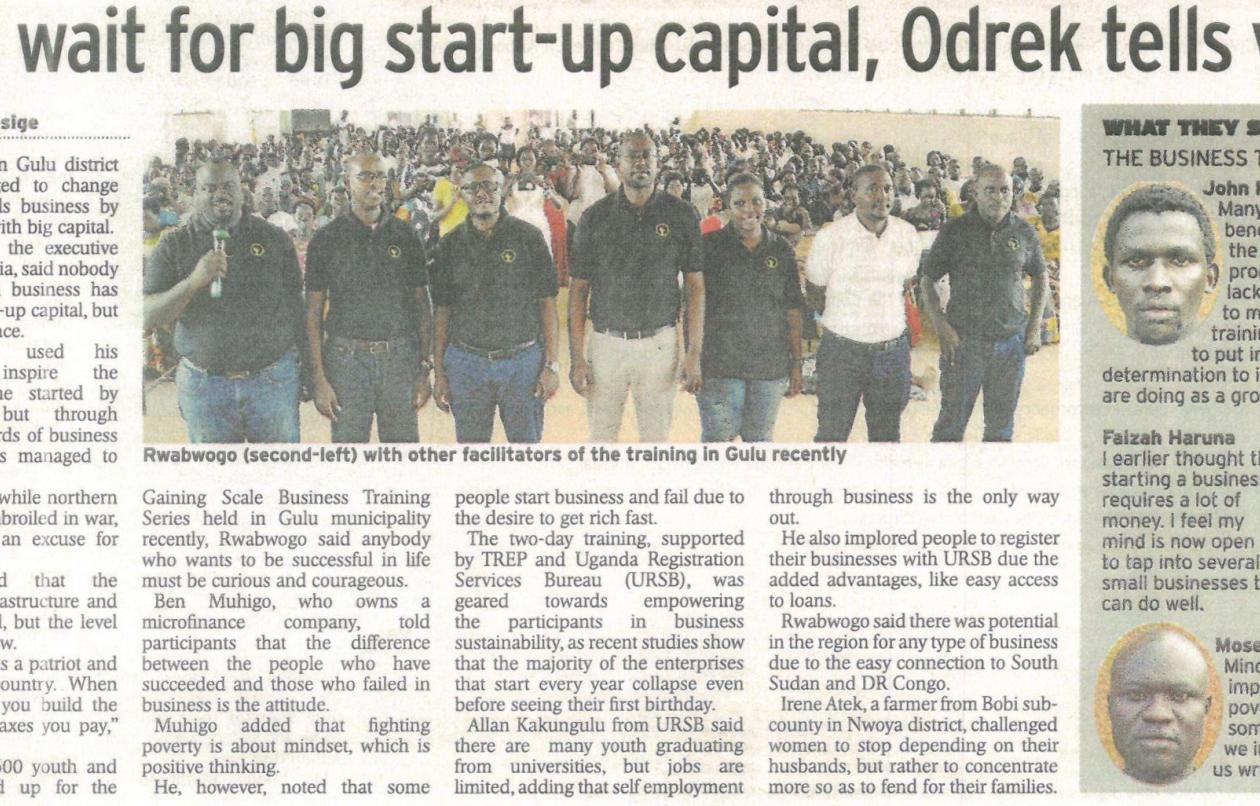 URSB Entrepreneurship Skills Training Gets Press Recognition